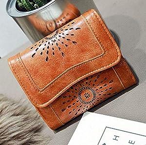 Women Lady Hollow Leather Clutch Wallet Long PU Card Holder Purse Handbag (Color - Brown(short))