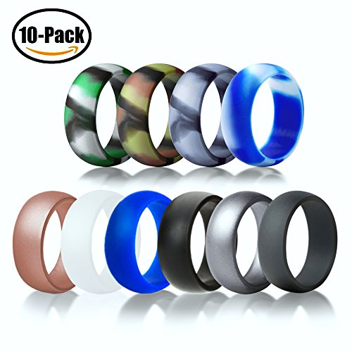 Silicone Wedding Ring Excercise Band Premium Medical Grade Wedding Bands for Men Women Kids Durable Comfortable Antibacterial Rubber Rings 10 Pack Classic Style By BUSHIBU (Men 10 Color, 11) (Striped Wedding Band)