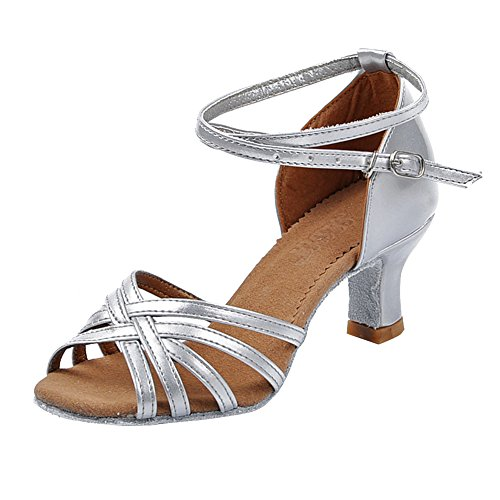 Latin Buckle YFCH Ankle Ladies 5cm Silver Sandals Women's Shoes Dancing Strap Dance Ballroom xBqBR8w1n