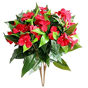 Xilyya 2PCS Artificial Impatiens Bushes Silk Flowers Greenery Indoor Garden Light Office Wedding Decor (Red) 94