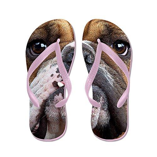 Cafepress Engelsk Bulldogg - Flip Flops, Roliga Rem Sandaler, Strand Sandaler Rosa