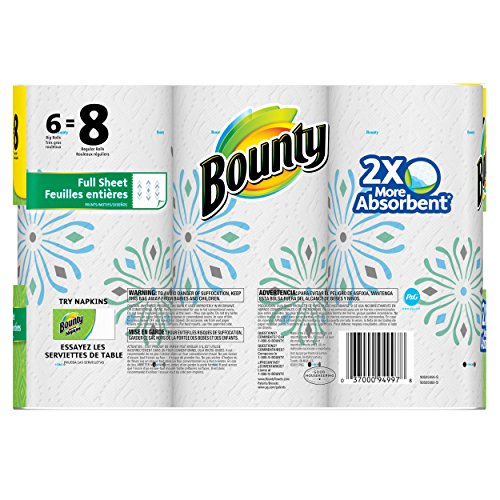 Bounty Paper Towels, Prints, Big Roll, 6 Count>