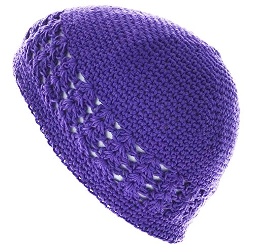100% Cotton KUFI Crochet Beanie Skull Cap Knit Hat Brand New (Dark Purple)