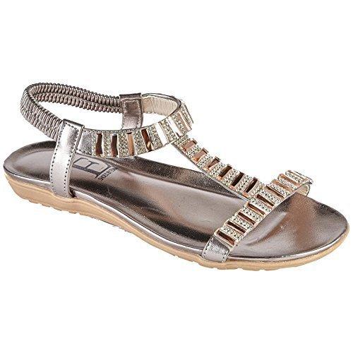 Fantasia Boutique Panache Ladies Flat Fashion T Bar Sling Back Jewelled Elastic Strap Sandals Pewter z40jU