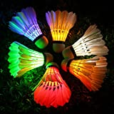 Inngree LED Badminton,Shuttlecock Dark Night Goose Feather Glow Birdies Lighting for Outdoor Indoor Sports Activities (Multicolour-6PCS)