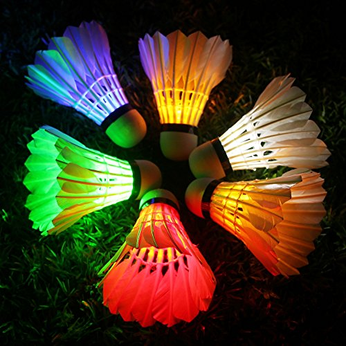 (Inngree LED Badminton Birdies [6 Pack] Colorful LED Shuttlecock Dark Night Goose Feather Glow Birdies Lighting Outdoor Indoor Sport Activities (Colourful))