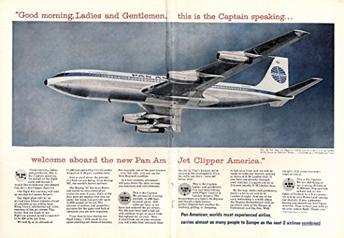 Welcome aboard the Pan Am Jet Clipper America Boeing 707 ad 1958 NY