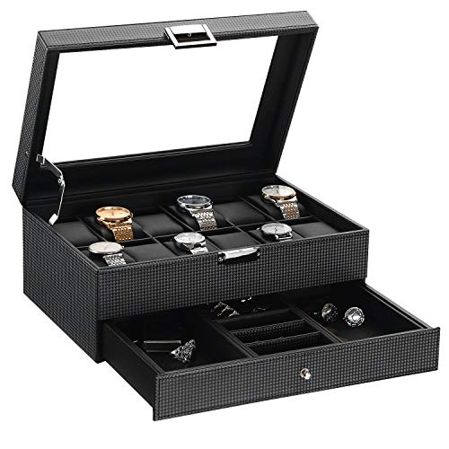 BEWISHOME Watch Box Organizer with Valet Drawer - Real Glass Top, Adjustable Tray, Metal Hinge, Carbon Fiber Design - 12 Slots Watch Storage Case for Men, Black - Square Case Design Watch