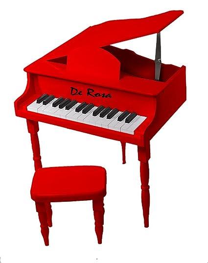 Petite 30 Keys Kids Baby Red Grand Piano With Matching Bench U0026 Sheet Music  Stand U0026