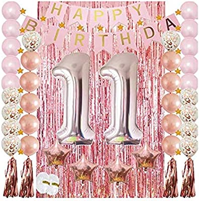 11th Birthday Decorations for Girls Party Supplies-Confetti Latex Balloon,Foil