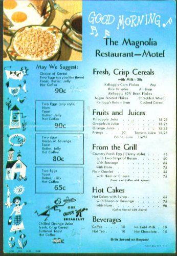 Magnolia Resraurant Motel Breakfast Menu Card 1957 (Breakfast Magnolia)
