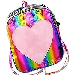 Lanhui_Exquisite Summer Candy Transparent Love Heart Shape Backpacks School Backpack (Multicolor)