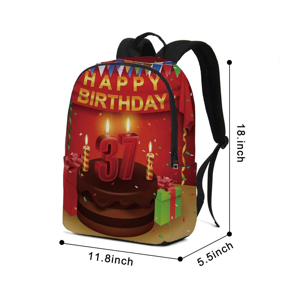 37th Birthday Decorations Modern simple Backpack,Chocolate Cake Gifts Balloons Flag Cute Icons Candles Artsy Image for school,11.8''L x 5.5''W x 18.1''H by TecBillion (Image #2)