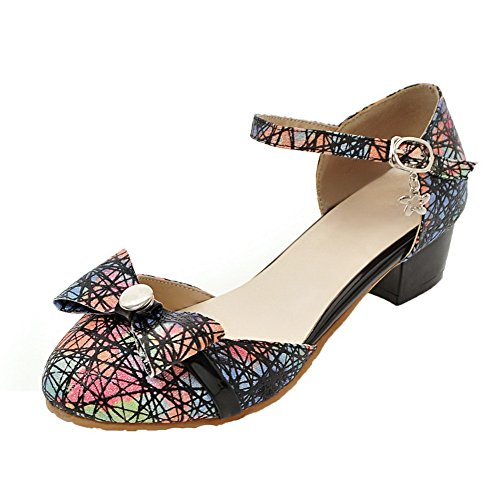 AllhqFashion Womens Low-Heels Assorted Color Buckle Blend Materials Pumps-Shoes Black DrOUEy0liA