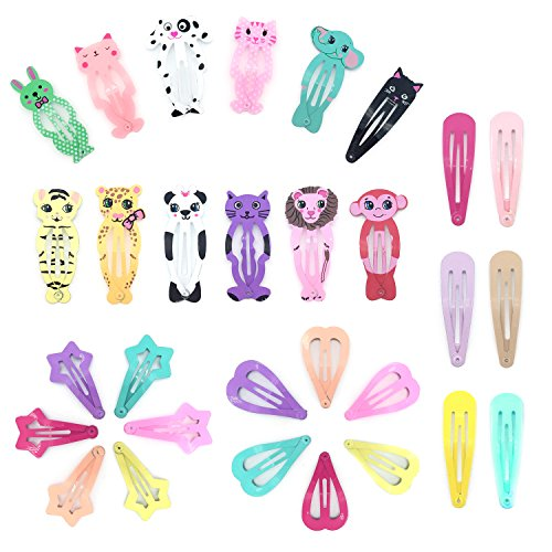 Elesa Miracle 30pcs Little Girl Toddler Kids Heart-shaped Animal Pattern Metal Snap Hair Clips Value Set (Heart Clip)
