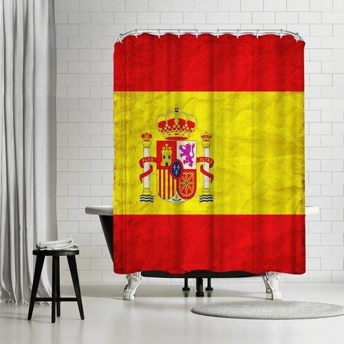 Americanflat Spain Flag Shower Curtain by Wonderful Dream, 74'' H x 71'' W x 0.1'' D by Americanflat