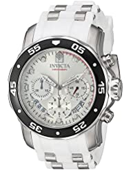 Invicta Mens Pro Diver Quartz Stainless Steel and Polyurethane Casual Watch, Color:White (Model: 20290)