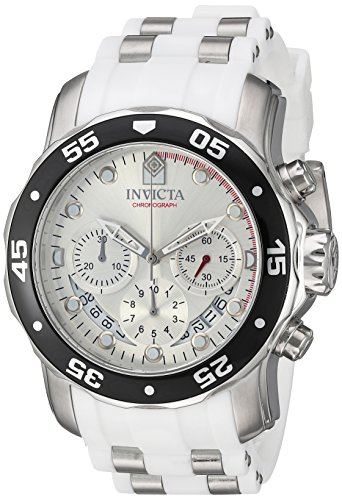 Men's 'Pro Diver' Quartz Stainless Steel and Polyurethane Casual Watch, Color:White (Model: ) - Invicta 20290