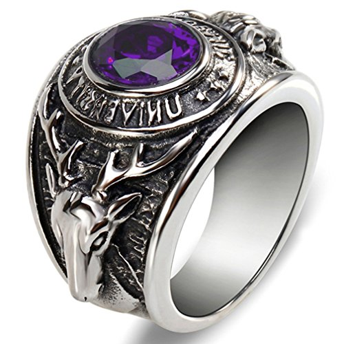 SAINTHERO Men's Vintage Gothic Stainless Steel Ring Band Silver Black Reindeer Head Punk Tribal Biker Rings with Created Amethyst Size 8 (Amethyst Ring Stainless Created Steel)