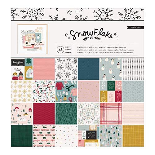 Crate Paper 350976 Snowflake, 24 Designs/2 Each Paper Pad, Multi