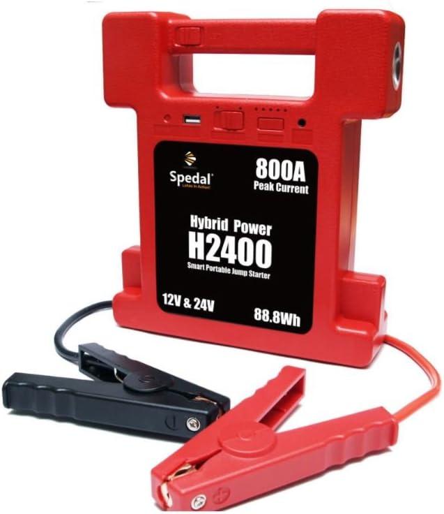 Arrancador de baterías super compacto para batería de 26000mAh, conmutables a 12 y 24V, con lámpara de corriente máxima de 800A