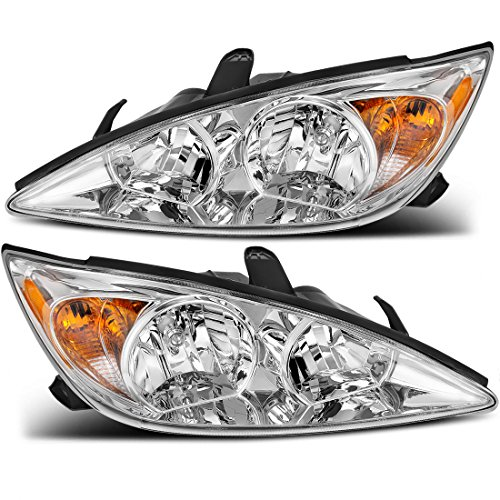 For Toyota Camry 2002-2004 Headlamp Headlight Assembly Chrome Housing Amber Reflector Clear Lens (Driver and Passenger Side)