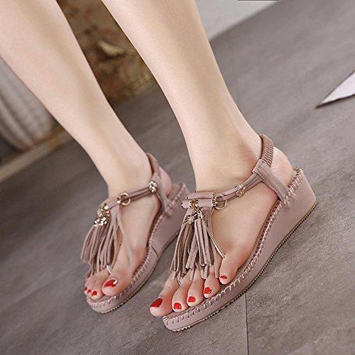 Bagatela zapatos de fondo grueso zapatos planos cómodos de la borla de las sandalias estilo romano morado claro