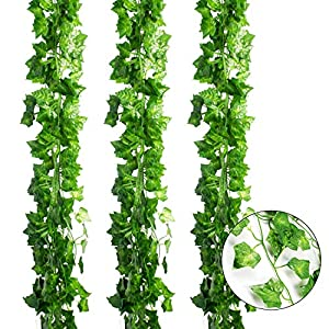 CEWOR Artificial Ivy Fake Greenery Garland Vine Leaves Home Wedding Garden Swing Frame Decoration 99