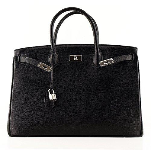 Neu / Spring 18 / Rouven / Icone 40 Tote Bag / Schwarz Black Noir / Silver / Leder Tasche Handtasche / groß / edel modern chic puristisch / 40x28x19cm zmrULt
