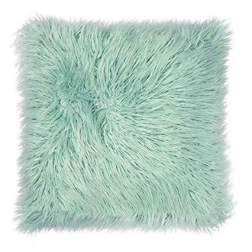 Dormify Faux Fur Mongolian Euro Pillow, Trendy Oversized Throw Pillow or Floor Pillow, for Fashion-Minded and Small-Space Decorating - Mint [並行輸入品] B07RDWKQ4R