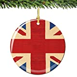 Union Jack Christmas Ornament Porcelain, 2.75 Inch Double Sided British Christmas Ornament