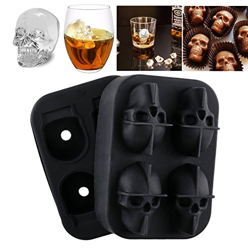 TianJi Silicone Ice Cube Trays With Lid New Skull Ice Cube Mold Ice Cube Maker Whiskey Cocktails Halloween Party Spooky Fun Bar Tool Makes Four Giant (Death By Chocolate Halloween Cake)