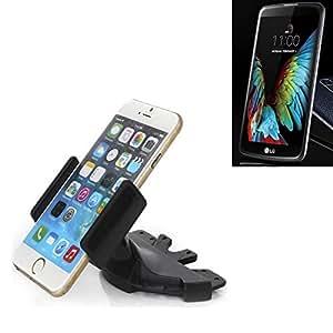 Ranura de CD Smartphone Soporte para LG Electronics K10 (3G) | soporte de coche de uso general para los dispositivos de navegación / los teléfonos inteligentes para el montaje en la ranura de CD de la radio del coche. El soporte 360 ??es libremente ajustable. El dispositivo de agarre es adecuado para todos los teléfonos móviles de hasta 90 mm de ancho. Soporte para coche ranura de CD, ranura de CD del coche del soporte Coches, hecho para el smartphone, teléfono móvil, la navegación