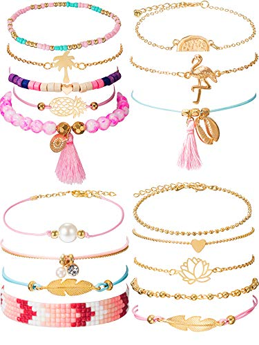 Chuangdi 4 Jewelry Set Layered Beaded Bracelet Adjustable Charm Pendent Stack Bracelets Wrap Bangle for Women Girl (Style - Charms Set Beaded