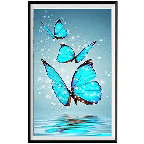 (5D Diamond Painting Rhinestone Science Fiction Butterfly Dream Blue Embroidery Wallpaper DIY Wall Sticker by Number Kits Full Drill Kits Full Drill Cross Stitch Arts 30X30CM)