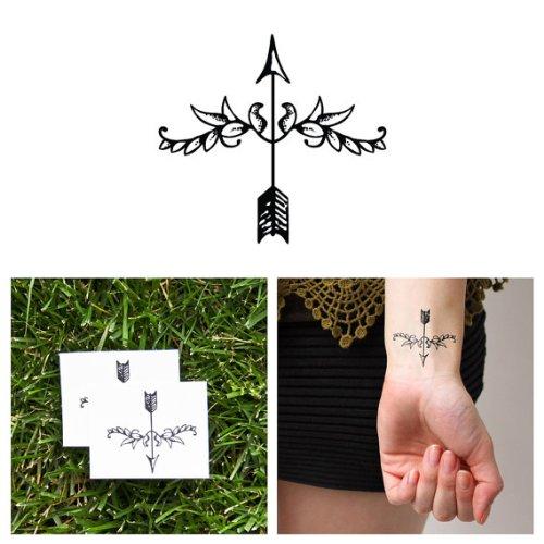 Tattify Decorative Arrow Temporary Tattoo - Fleur de Arrow (Set of 2) (Cupid Men Costume)