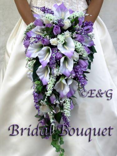 Choose Ribbon Silk Flower Wedding Bouquet for Bride or Bridesmaids Ready to Ship Lavender Hydrangea Add a Groom Groomsmen Boutonnieres