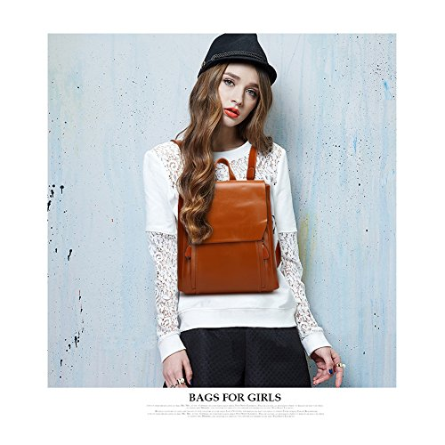Shoulder Snap Magnetic Black Bag Backpack Yoome School Women Vintage College Bag Backpack Leather qZgEwvxB