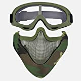 Fansport Airsoft Protective Mask Mesh Mask Outdoor Cycling Half Face Mask with Goggles Set