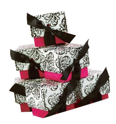 Damask Party Favors (Hortense B. Hewitt Wedding Accessories 2-Piece Favor Boxes, Fuchsia Filigree, Pack of)