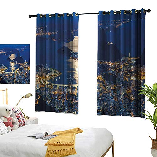 (G Idle Sky Room Darkened Heat Insulation Curtain Night Aerial View of Mountain Sugar Loaf and Botafogo Rio de Janeiro Environmental Protection 55