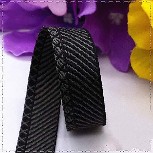 (Jammas Hot Sale 1.5cm Black Grey Diagonal Stripes Grosgrain Ribbons DIY Handmade Clothing Accessories Handbags Belt Decoration 1meter - (Color: Black Gray))