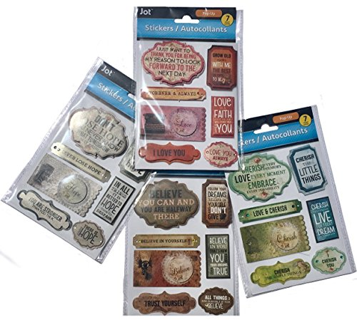 Jot Set of 4 Assorted Packaged Sheets of 3D Embellished Inspirational Pop-Up Stickers (7 each) ()