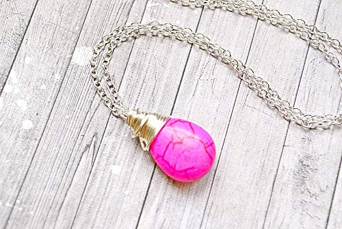 Creative Bright Pink Turquoise Necklace, Wire Wrapped Teardrop Hot Pink Jewelry, Faux Turquoise Drop, Pink Dangle