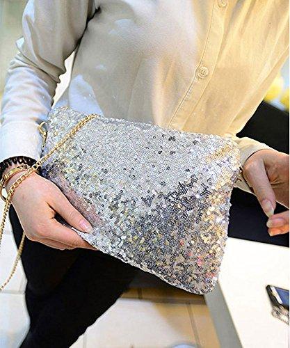 Evening Handbag CC Purse Sequined Envelope CD Clutch Vintage Silver Party qnHaZpgn