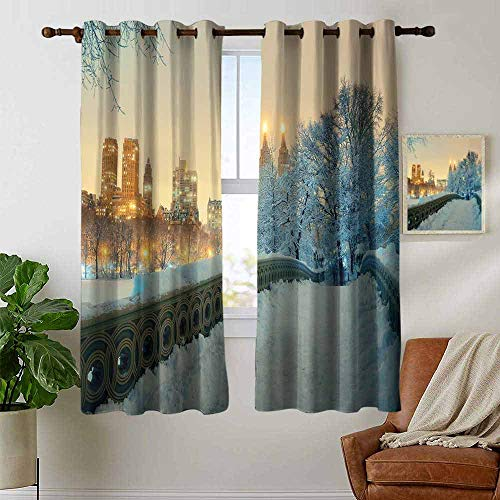 - Pattern Curtains Winter,Central Park Winter Season with Skyscrapers and Snow Bow Bridge Manhattan New York,Living Room and Bedroom Multicolor Printed Curtain Sets 42