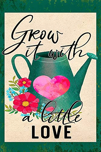 Grow It with A Little Love Spring Gardening Decorative Garden Flag, Double Sided, 12