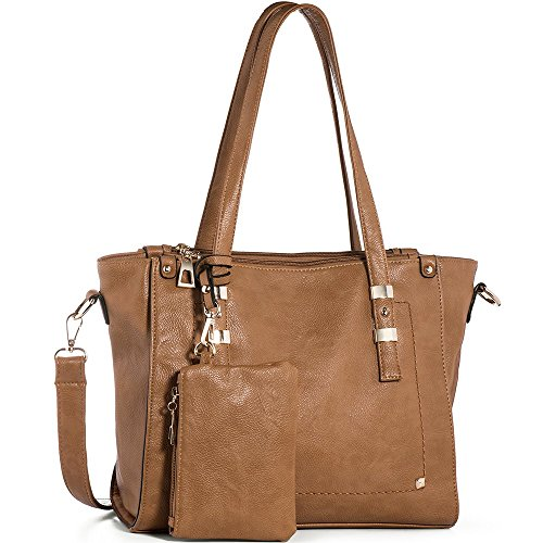 (WISHESGEM Women Fashion Handbags Top-Handle Shoulder Bags PU Leather Tote Bags Crossbody Purse Camel)