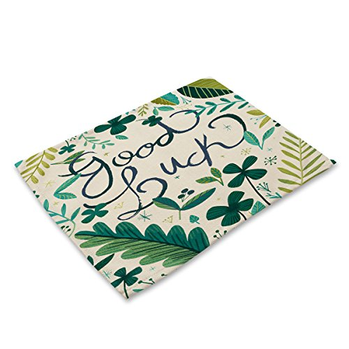 Simmia Home Placemats Set of 6 Non-Slip Heat Resistant Table Place Mats Washable Cotton Linen Dining Table Mats Tropical Plant Green Leaf Animal MA0104-17