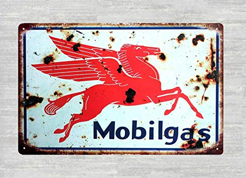 DYTrade Tin Metal Sign 8 x 12 - Man cave Metal Wall Art Decor Mobil Oil Pegasus Gas tin Metal Sign